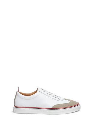 Main View - Click To Enlarge - Thom Browne - Suede toe cap leather sneakers