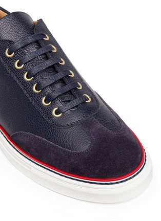 Detail View - Click To Enlarge - Thom Browne - Suede toe leather sneakers