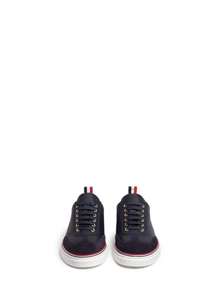 Front View - Click To Enlarge - Thom Browne - Suede toe leather sneakers