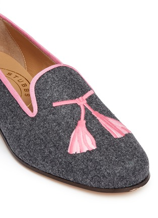 Detail View - Click To Enlarge - Stubbs & Wootton - Tassel embroidery flannel slip-ons