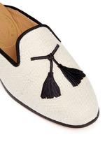 Tassel embroidery hopsack slippers