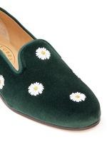 Daisy embroidery velvet slip-ons