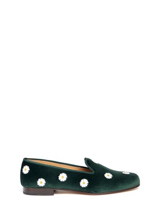 Main View - Click To Enlarge - Stubbs & Wootton - Daisy embroidery velvet slip-ons