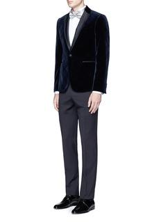 Armani Collezioni'Metropolitan' Glen plaid velvet tuxedo blazer
