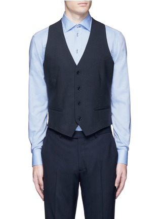 Main View - Click To Enlarge - Armani Collezioni - Wool hopsack waistcoat