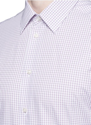 Detail View - Click To Enlarge - Armani Collezioni - Check grid cotton shirt