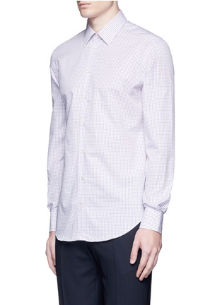 Front View - Click To Enlarge - Armani Collezioni - Check grid cotton shirt