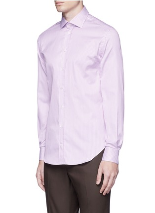 Front View - Click To Enlarge - Armani Collezioni - Slim fit stripe cotton shirt