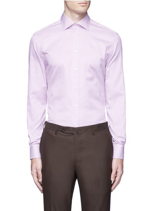 Main View - Click To Enlarge - Armani Collezioni - Slim fit stripe cotton shirt