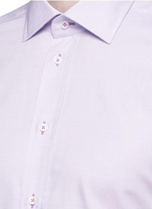 细节 - 点击放大 - ARMANI COLLEZIONI - 修身横纹提花纯棉衬衫