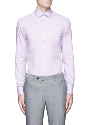 首图 - 点击放大 - ARMANI COLLEZIONI - 修身横纹提花纯棉衬衫