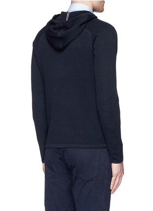 Back View - Click To Enlarge - Theory - 'Melker' waffle knit zip front sweater