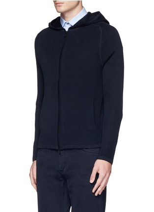 Front View - Click To Enlarge - Theory - 'Melker' waffle knit zip front sweater