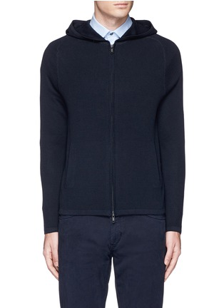 Main View - Click To Enlarge - Theory - 'Melker' waffle knit zip front sweater