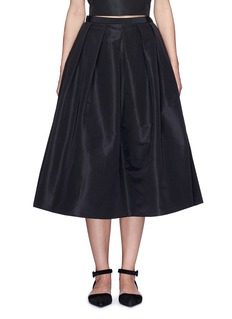 Tibi Pleat front silk faille flare midi skirt