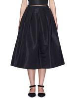 Pleat front silk faille flare midi skirt