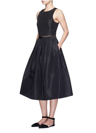 Figure View - Click To Enlarge - Tibi - Pleat front silk faille flare midi skirt