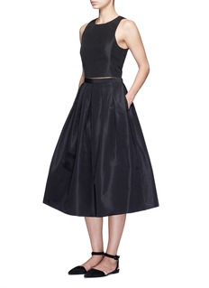 TibiPleat front silk faille flare midi skirt