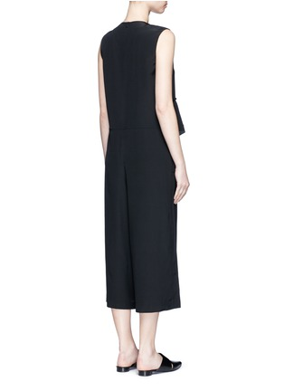 Tibi-Ruffle waist silk V-neck jumpsuit
