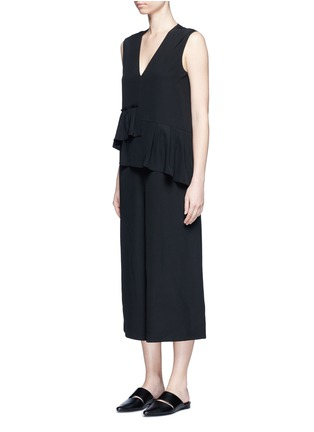 Front View - Click To Enlarge - Tibi - Ruffle waist silk V-neck jumpsuit