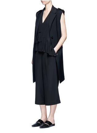 Figure View - Click To Enlarge - Tibi - Ruffle waist silk V-neck jumpsuit