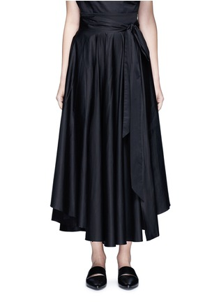 Main View - Click To Enlarge - Tibi - Obi sash pleat poplin skirt