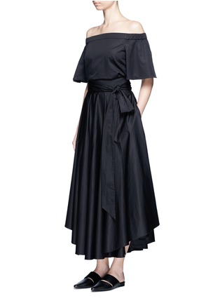Figure View - Click To Enlarge - Tibi - Obi sash pleat poplin skirt