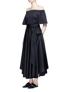 TIBIObi sash pleat poplin skirt