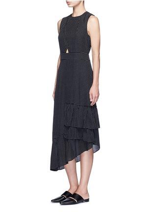 Figure View - Click To Enlarge - Tibi - 'Estrella' star print asymmetric ruffle silk dress