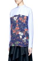 Floral print back poplin shirt