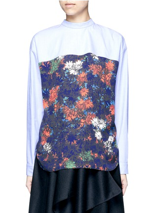 Main View - Click To Enlarge - Cédric Charlier - Floral print back poplin shirt