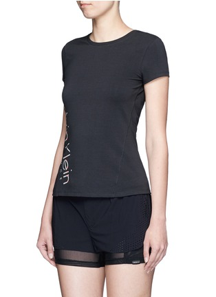 Front View - Click To Enlarge - Calvin Klein Collection - Metallic logo print cotton T-shirt