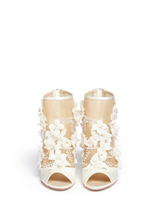 Front View - Click To Enlarge - Paul Andrew - 'Bijoux' floral appliqué mesh satin sandals