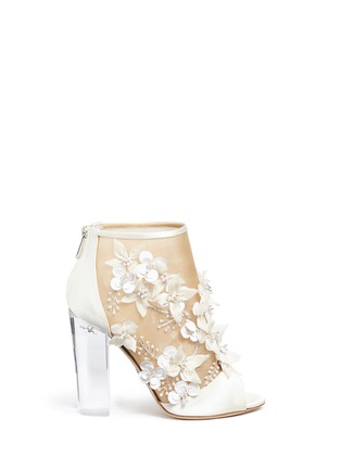 Main View - Click To Enlarge - Paul Andrew - 'Bijoux' floral appliqué mesh satin sandals
