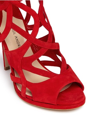Detail View - Click To Enlarge - Paul Andrew - 'Ella' cutout suede caged sandals