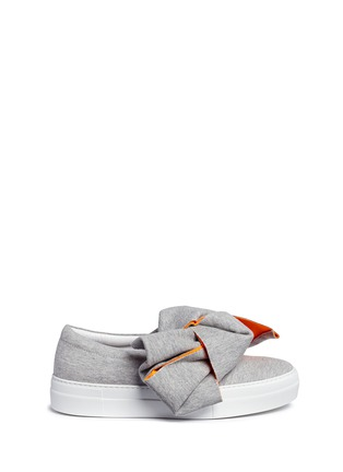Main View - Click To Enlarge - Joshua Sanders - 'Bicolour' oversize bow jersey skate slip-ons