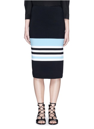 Main View - Click To Enlarge - Nicholas - Side split stripe knit pencil skirt