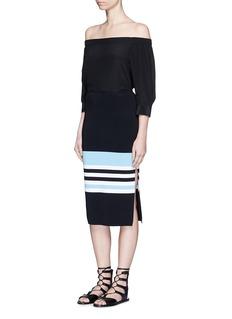 NICHOLASSide split stripe knit pencil skirt