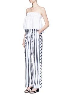NICHOLAS'Dual Stripe' silk twill slim wide leg pant