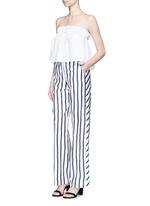 'Dual Stripe' silk twill slim wide leg pant
