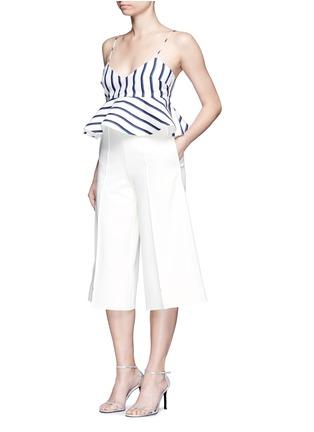 Nicholas-Dual stripe silk peplum bralette top