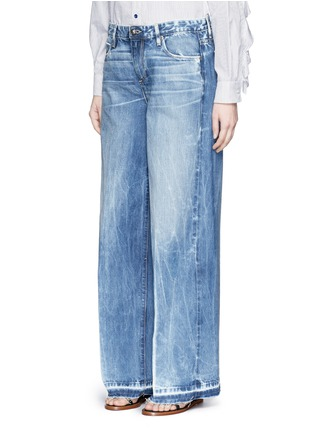 Front View - Click To Enlarge - Tortoise - Frayed cuff wide leg jeans