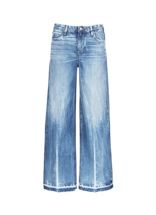 Main View - Click To Enlarge - Tortoise - Frayed cuff wide leg jeans