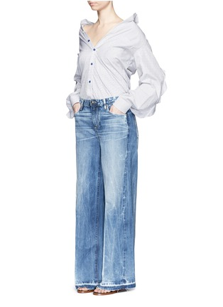 Figure View - Click To Enlarge - Tortoise - Frayed cuff wide leg jeans