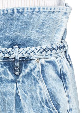 Detail View - Click To Enlarge - Tortoise - Paperbag waist denim shorts
