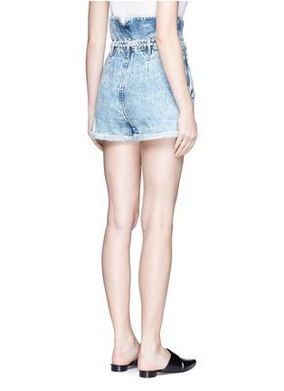 Back View - Click To Enlarge - Tortoise - Paperbag waist denim shorts