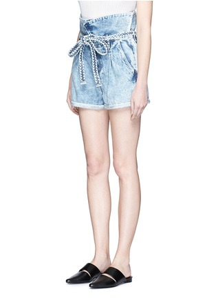 Front View - Click To Enlarge - Tortoise - Paperbag waist denim shorts