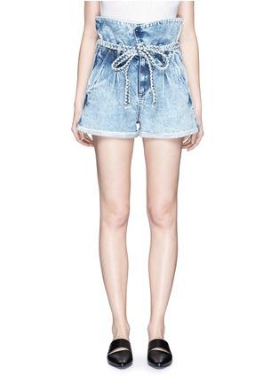 Main View - Click To Enlarge - Tortoise - Paperbag waist denim shorts