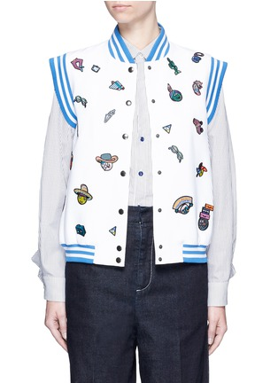Main View - Click To Enlarge - Mira Mikati - Cartoon icon patch sleeveless bomber jacket