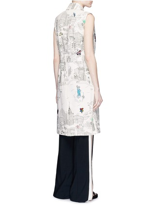 Back View - Click To Enlarge - Mira Mikati - NY Colour Book' illustration print sleeveless trench coat